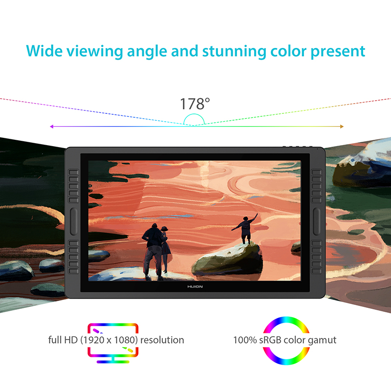 US $899 0 |HUION Kamvas Pro 22 New 21 5 inch Pen Tablet Monitor Tilt  Support Graphics Drawing Pen Display Monitor Battery free 8192 Levels-in  Digital