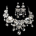 Luxury Large Water Drop Sparkling Crystal Imitated Gemstone Bridal Wedding Jewelry Set Flower Choker Necklace Earrings Set