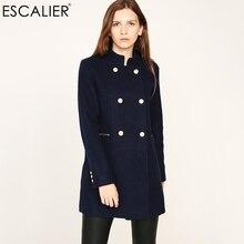 ESCALIER дизайн Vogue зимнее женское пальто темно-синее пальто с большим меховым воротником теплая верхняя одежда с длинными рукавами пальто на пуговицах