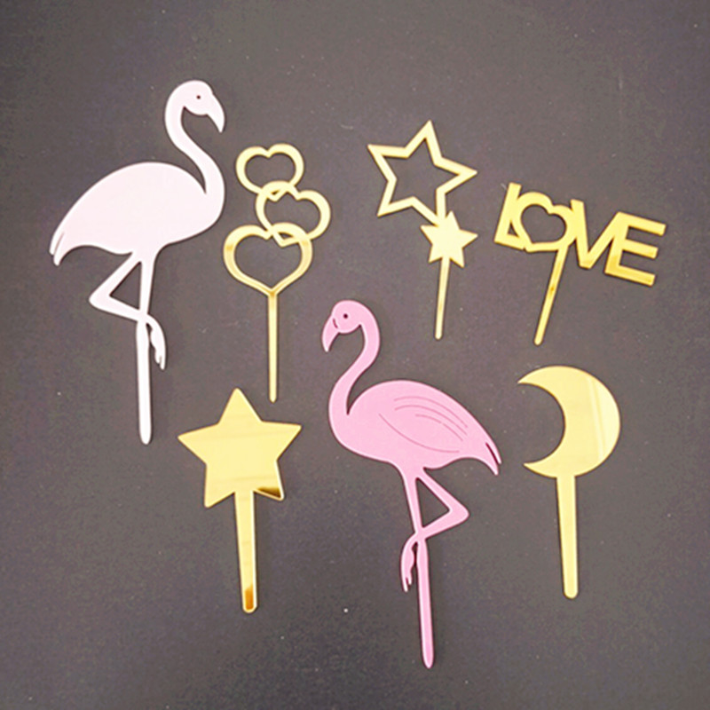 1pc Gold Acrylic Cake Topper Star Heart Love Cupcake Topper For Kids Birthday Flamingo Party Wedding Cake Decorations Supplies