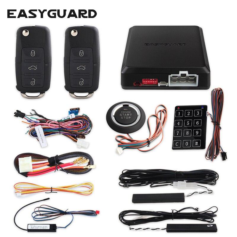 EASYGUARD PKE kit d'alarme de voiture avec bouton poussoir démarrage arrêt démarrage à distance démarrage du moteur verrouillage automatique déverrouillage automatique fenêtre fermeture alarme de sécurité
