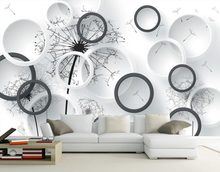 3D circle dandelion backdrop decorative painting 3d stereoscopic wallpaper 3d mural wallpaper(China)