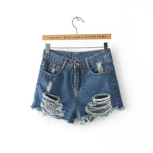 2016 de Cintura Alta shorts jeans verão casual ripped desfiado azul moderno das senhoras das mulheres shorts jeans cintura alta jean taille haute
