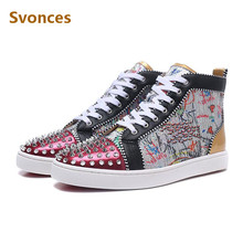 707e757f34b29 Newest Graffiti Sequins Unisex Sneakers Red Gold Rivets Bottom High Top  Lace-up Mens Boots