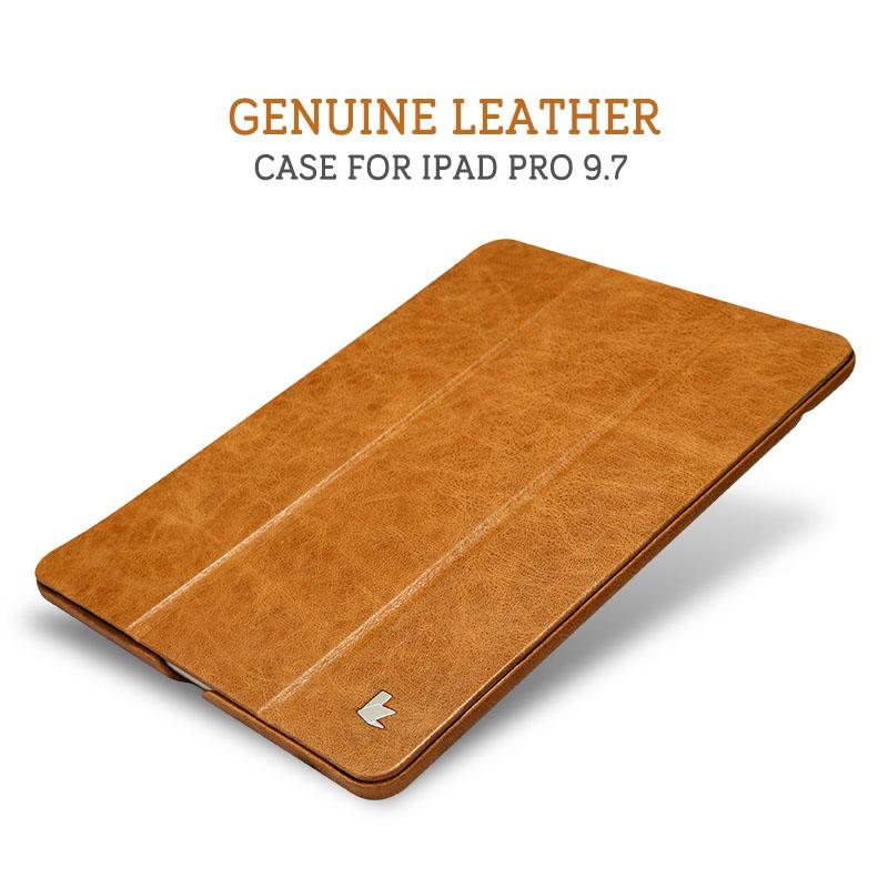 Prix pour Jisoncase Case pour iPad Pro 9.7 Véritable En Cuir Smart Cover De Luxe Marque Couvre et Cas