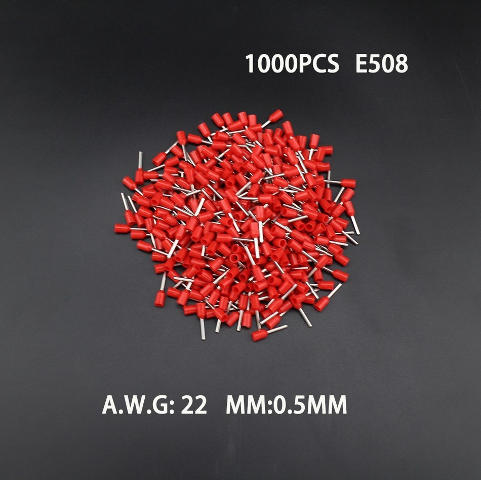 1000pcs E508 22AWG Copper Crimp Connector Insulated Cord Pin End Terminal Ferrules kit set Wire terminals connector 800pcs cable bootlace copper ferrules kit set wire electrical crimp connector insulated cord pin end terminal hand repair kit