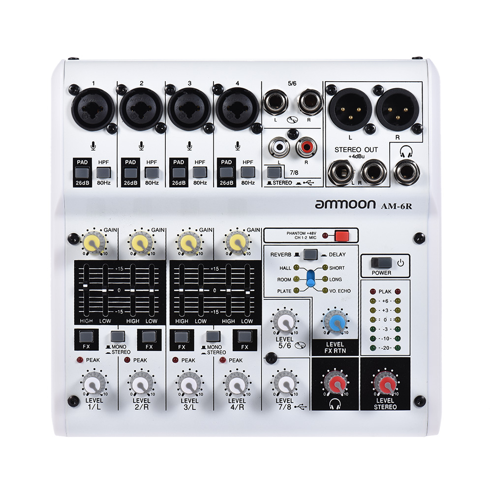 Ammoon Professional AM-6R 8-Channel Digital Audio Mixer Mixing Console Built-in 48V Phantom Power