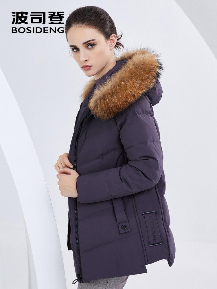 BOSIDENG ผู้หญิงลงเสื้อแจ็คเก็ตหญิงฤดูหนาวใหม่จริงขนสัตว์ hooded หลวมลง coat plus ขนาดสั้น parka B80141032B-ใน เสื้อโค้ทดาวน์ จาก เสื้อผ้าสตรี บน   3