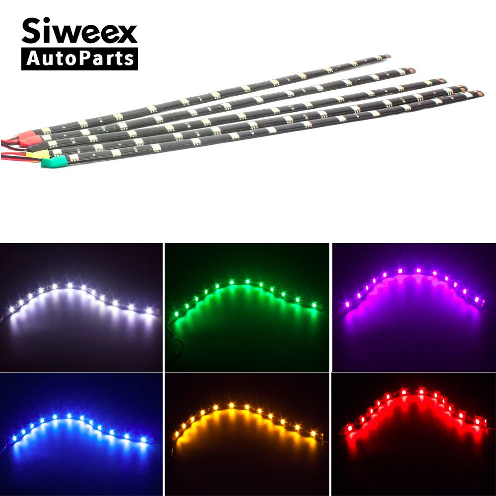 Car LED Strip light 30CM 5050 <font><b>12</b></font> <font><b>SMD</b></font> Waterproof Daytime Running light Decoration Silicone Strip Fog lamp 12V DC image