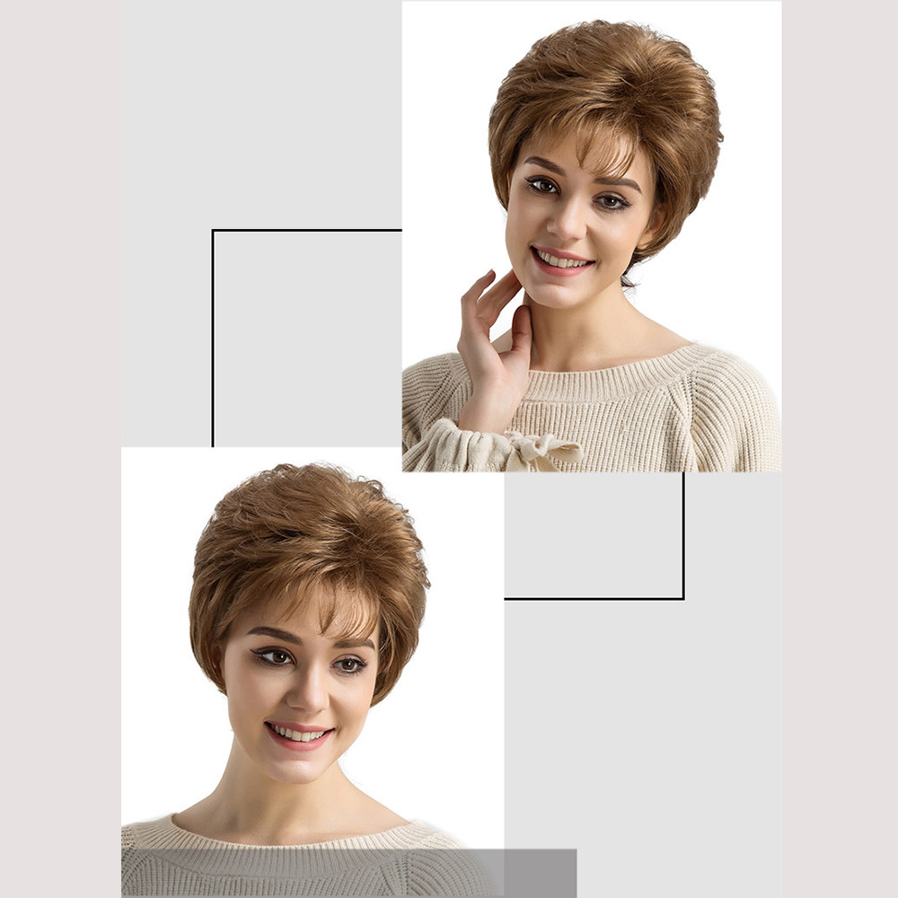 Occident Natural Real Brown Curly Short Hair Wigs Women's Fashion Slightly Synthetic Wig New Heat Resistant Wig Full Head Gift