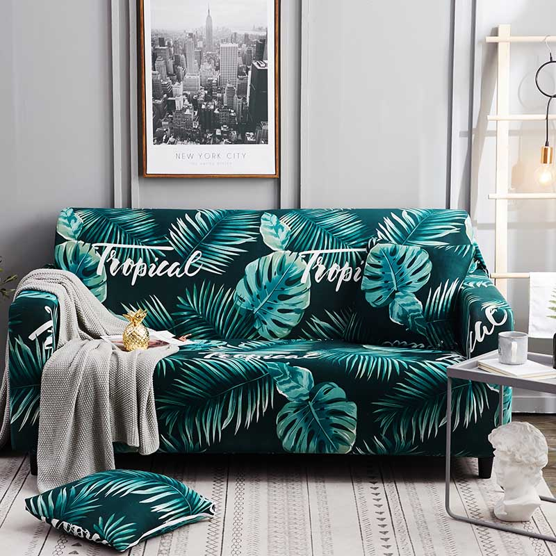 1pc Leaf and Flower Printed Sofa Cover Made of Polyester and Spandex Fabric for L Shaped and Corner Sofa 16