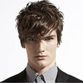 2016 New Short Wavy Brown Color Glamorous Fashion Full Synthetic Hair Men Wigs
