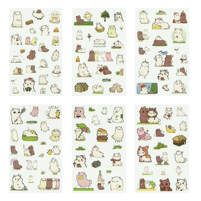 6 Sheets/pack Alpaca Friends Label Stickers Decorative Stationery Stickers Scrapbooking DIY Diary Album Stick Label