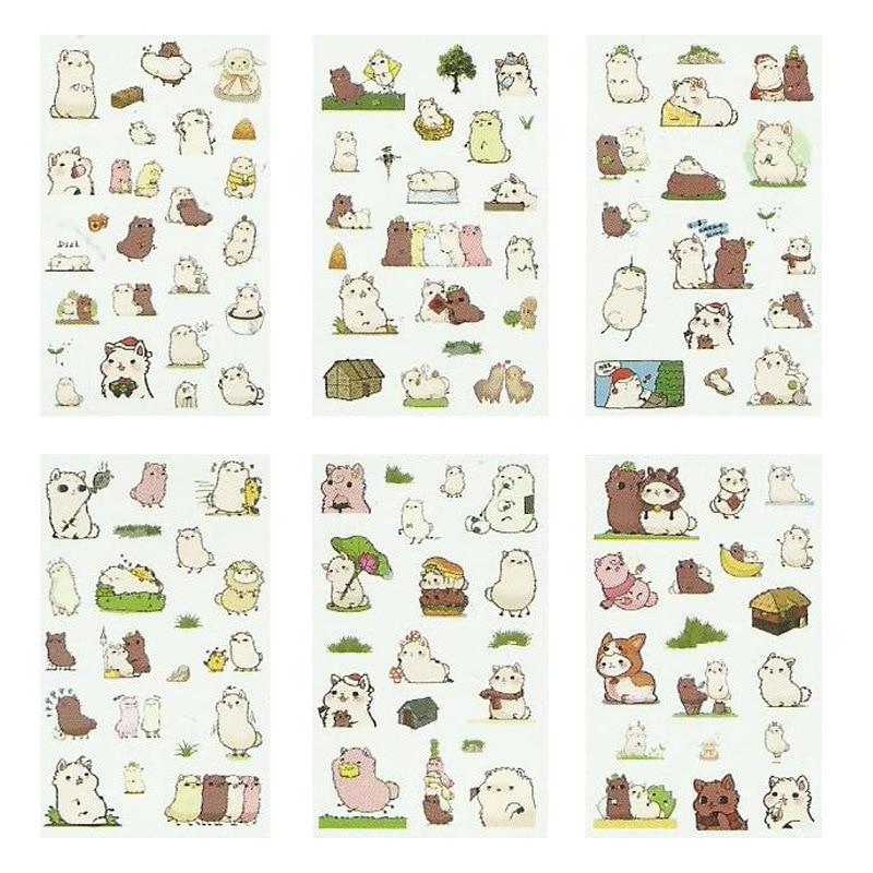 6 Sheets/pack Alpaca Friends Label Stickers Decorative Stationery Stickers Scrapbooking DIY Diary Album Stick Label