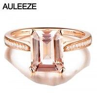 Изумрудное кольцо 2CT натуральный морганит кольцо 14 к розовое золото морганитное кольцо Moissanite алмазное обручальное кольцо ювелирные издели