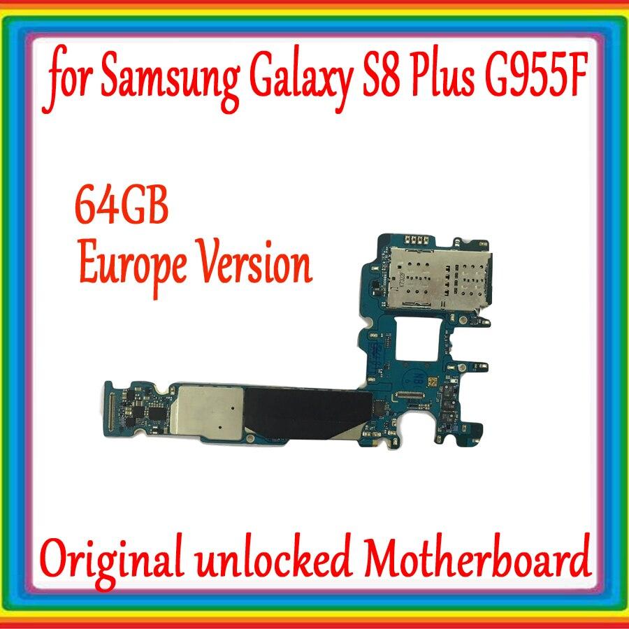 Original débloqué pour Samsung Galaxy S8 plus G955F carte mère 64 GB, Version EU pour Galaxy S8 G955F carte mère avec système Android