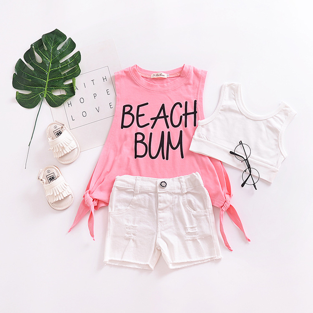 Summer Newborn Baby Girls Cotton Vest Letter  Tops+Denim Shorts Outfits Clothes