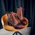 Bandera gigante 2016 Moda punta estrecha Estampado de Serpiente Botín Hoof Tacones Altos Botas Cortas Otoño Patea Los Zapatos de Invierno Zapato