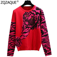 New Hot Sexy Red Pink All match Knit Tops Women's Fall Winter Tiger Jacquard Long Sleeve Sweater Females Trendy Outerwear SY1881