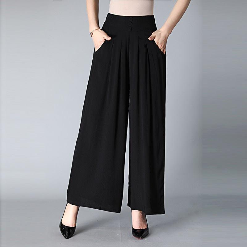 4XL Fashion Hot New   Wide     Leg     Pants   Spring Summer Korean High waist Sofe   pants   Big Hem Wild Chiffon Women Autumn   Pants