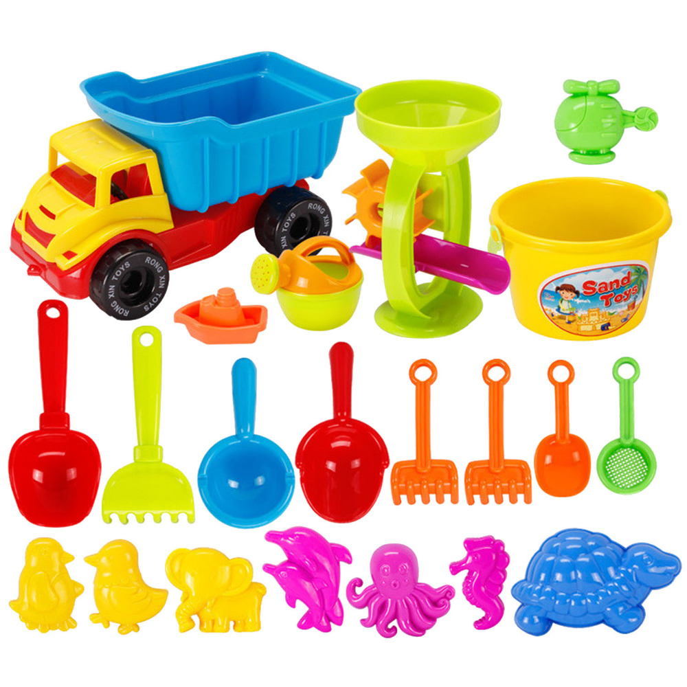21 Pcs Kids Beach Sand Game Toys Set Including Shell Dolphin Shovels Rakes Truck Hourglass Kids Beach Pretend Role Play Toy Kit