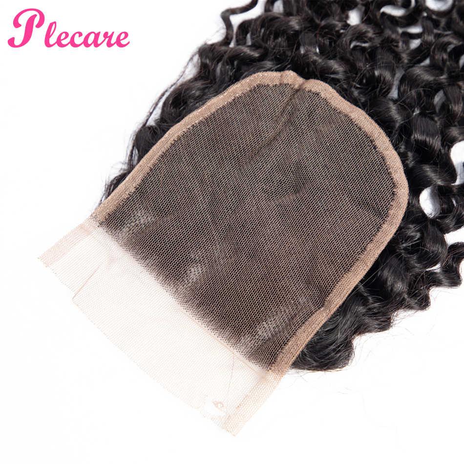 Plecare 4*4 Cierre de encaje brasileño rizado 8-20 pulgadas Color Natural medio Ratio no remy 100% extensiones de cabello humano