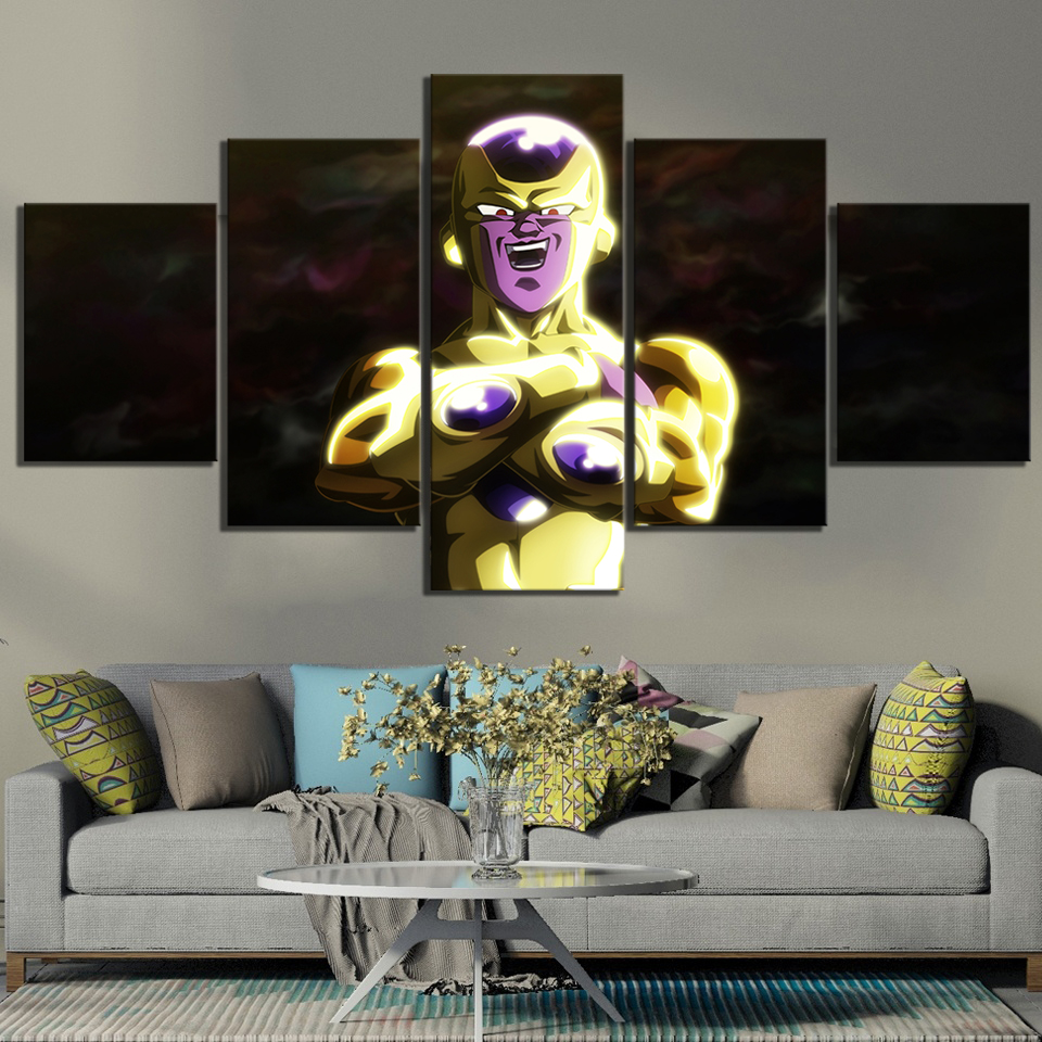 5 Piece Frieza Gold Cartoon Pictures Dragon Ball Super Anime Poster Canvas Paintings Wall Art for Children Room Wall Decor 1