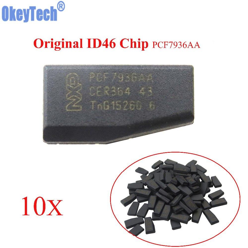 Автомобильный ключ OkeyTech 10 шт./лот, чипы высокого качества, чистый чип ID46, карбоновый чип PCF7936AA, автомобильный чип лучше, чем чип PCF7936AS