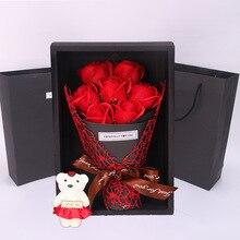 QWOK лучший подарок на день Святого Валентина 7 мыло роза цветок подарочная коробка букет чучела медведь жена подарок на день рождения Юбилей