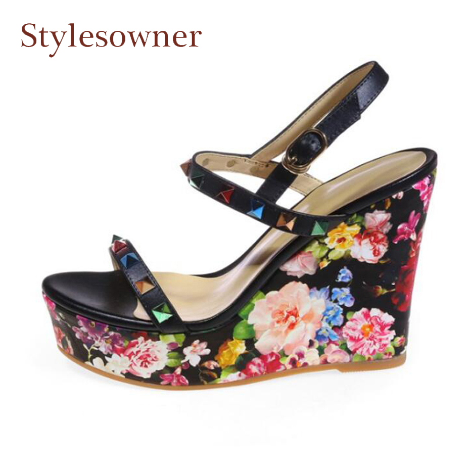 Stylesowner brand summer print wedge shoes for women ankle strap pumps rivet studded increasted platform peep toe flowers sandal stylesowner elegant lady pumps sandal shoe sheepskin leather diamond buckle ankle strap summer women sandal shoe