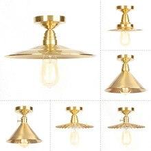 Pasillo de cobre puro de diseñador de la lámpara de techo de la vendimia de la industria de la luz de techo de la escalera creativa Retro lámpara de techo Pantalla de oro