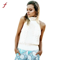 Feitong Women Casual Turtleneck Tank Tops Sexy Backless Sleeveless Knitted Sweater Vest Crop Top Party Clubwear