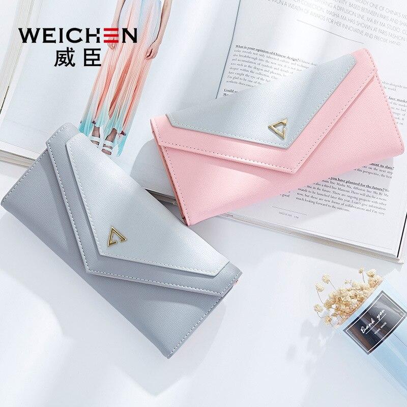 WEICHEN HOT géométrique enveloppe portefeuille femmes marque Designer femme portefeuille porte-carte téléphone monnaie poche dames sac à main de haute qualité 1