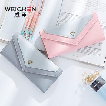 WEICHEN HOT Geometric Envelope Wallet Women Brand Designer Female Wallet Card Holder Phone Coin Pocket Ladies Purse High Quality