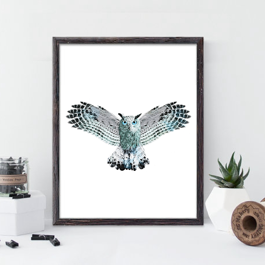 Burung Hantu Ilustrasi Cetak Dinding Seni Poster Cat Air Hewan