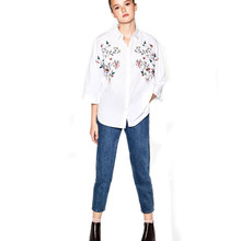Europe Street Fashion Batwing Sleeve Female Shirts Floral Embroidery Blouse Tops Spring 2017 Polo Collar Blusa Women Loose Top