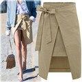 Europa estación de verano 2016 falda de algodón de las nuevas mujeres arco de encaje falda faldas de las señoras de la manera OL ropa