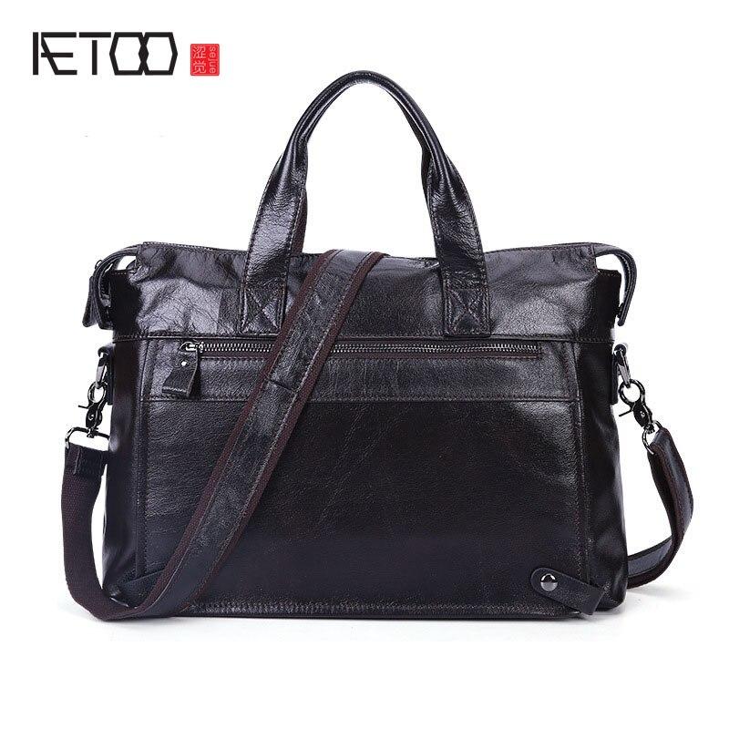 2139019b20dd AETOO мужская деловая кожаная сумка для отдыха повседневная сумка-мессенджер  портфель голова слой кожаная мужская