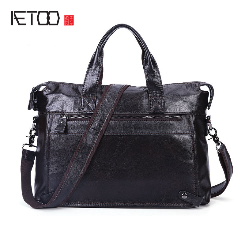 AETOO Business Leather Men 's Bag Leisure Casual Messenger Messenger Briefcase Head Layer Leather Men' s Bag