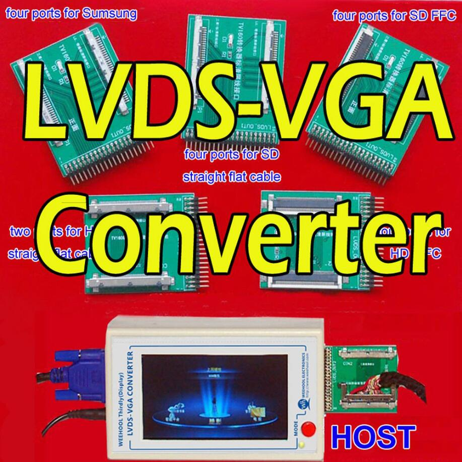 TKDMR New TV160 Full HD LVDS Turn VGA (LED/LCD)TV Mainboard Tester Tools Converter (Display Version)With Five Adapter Plate