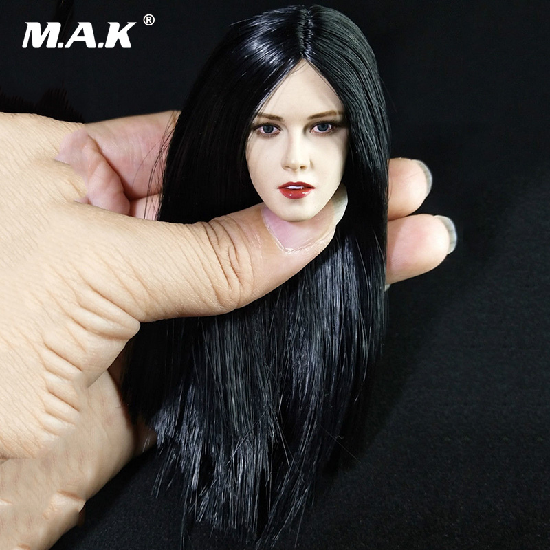 цена 1/6 Scale Kristen Stewart Head Sculpt Carved Black Long Hair Head Model for 12'' PH Female Suntan Action Figure Body