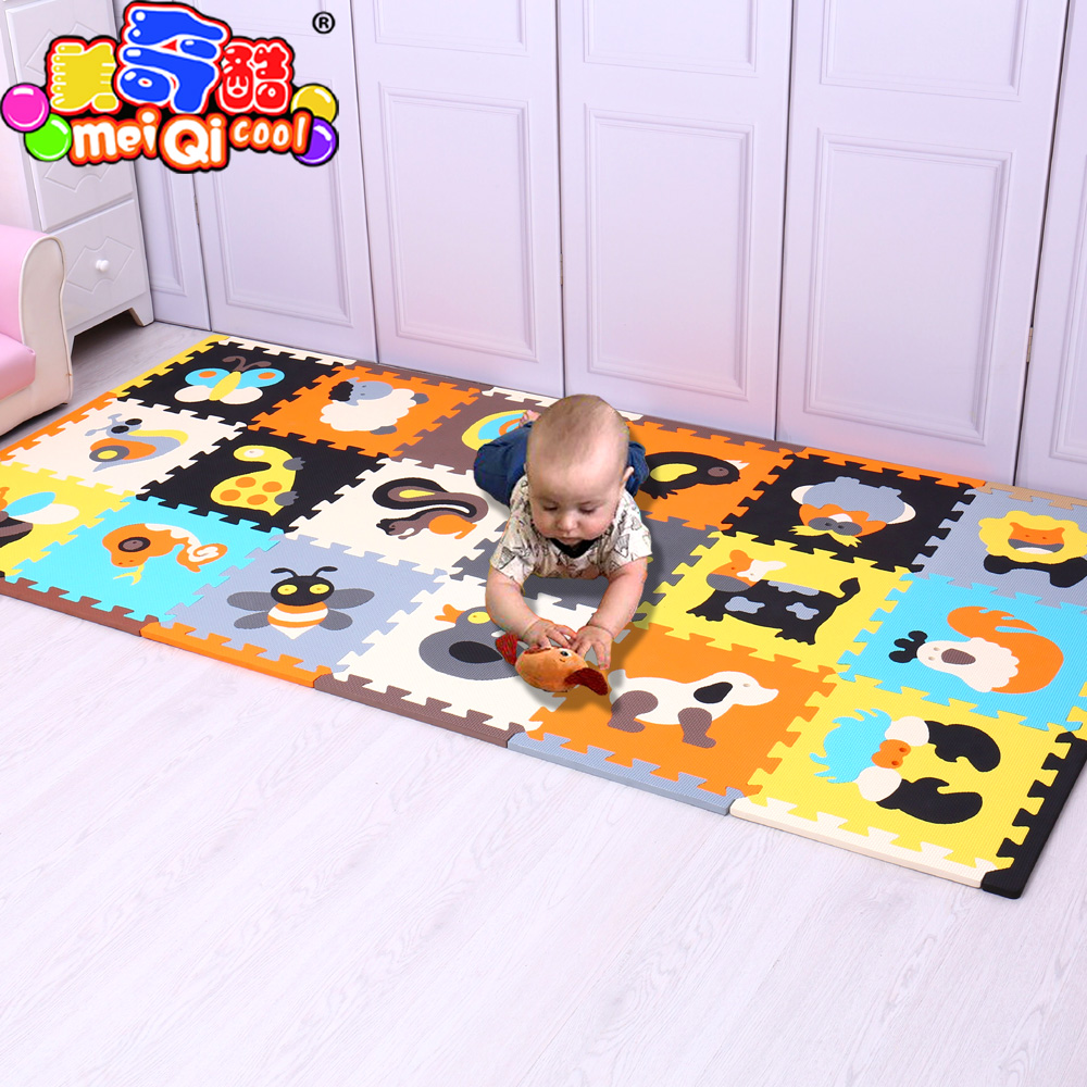 MeiQicool 18 pcs avec long bords bébé EVA Mousse Jouer Puzzle Tapis en Exercice Tuiles Tapis de Sol pour Enfant, chaque 30 cm X 30 cm