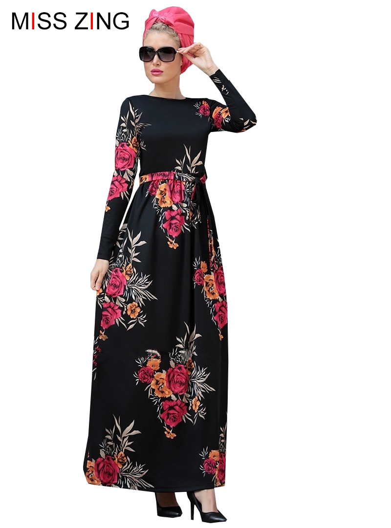 Fashion Women Print Flower Full Dress Maxi Abaya Skirt Kimono Loose Robe Gowns Muslim Clothing Middle East Islamic Prayer Dress