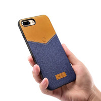 Original XOOMZ Fashion Stitching Canvas PU Leather Silicone Back Cover Fitted Case For Apple IPhone 7