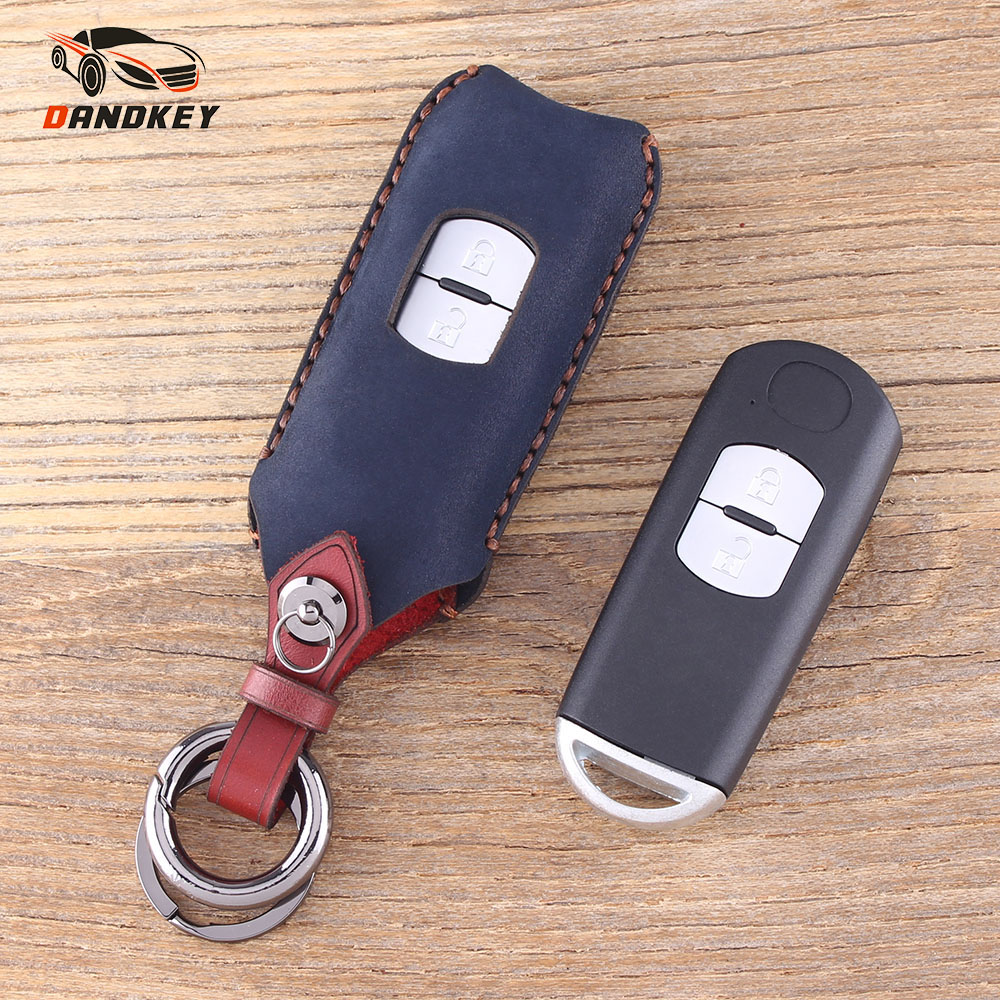 DANDKEY Genuine Leather Key Wallet Case Keychain For Mazda 3/6 CX-4 CX-5 Summit Axela Atenza Key Cover Key Shell 2 Buttons image