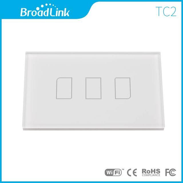 Nueva ee.uu. wifi broadlink tc2 3 gang control remoto inalámbrico de interruptor de pared light touch de vidrio templado 100 v-240 v casa inteligente