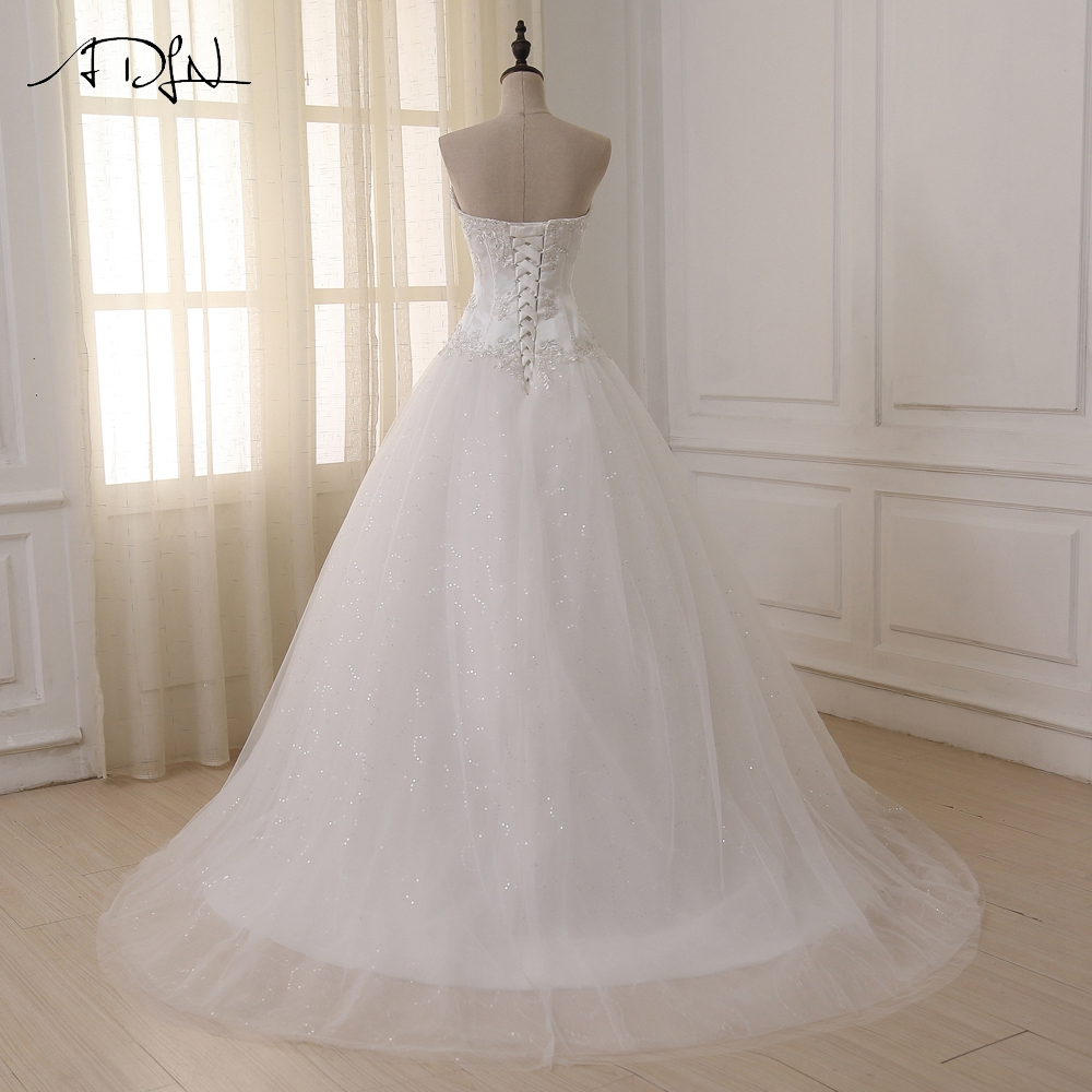 ADLN Wedding Dresses Vestidos de Novia Off the Shoulder Sweetheart Tulle Long Bride Dress Lace Up Back Plus Size In Stock 5