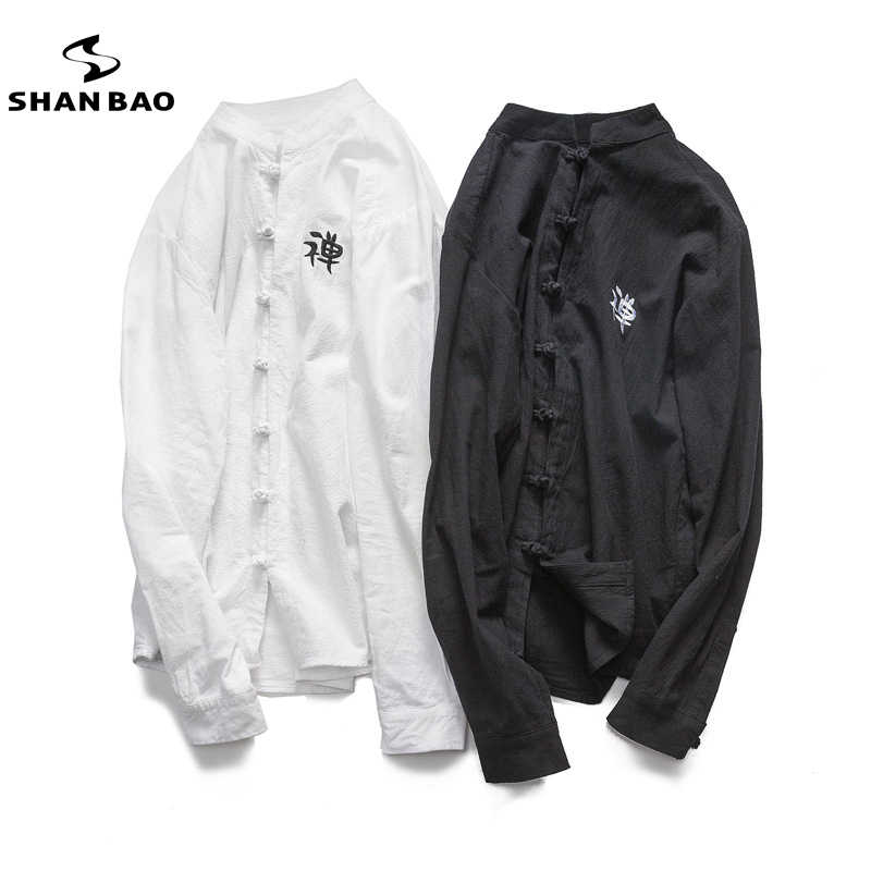 Camisa de algodón de marca SHAN BAO bordado blanco negro estilo chino para hombres 2019 primavera camisa de cuello de alta calidad de gran tamaño