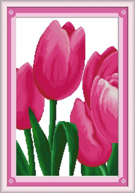 Pink Tulip1 Flower Dmc Cross Stitch Kits 14ct White 11ct Print On