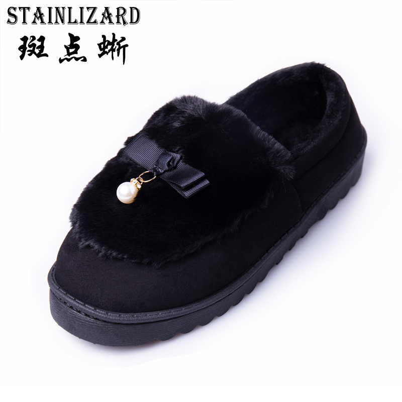 STAINLIZARD Warm Flock Women Winter Room Slippers with Fur Home Casual Plush Flat Women Shoes Indoor Female Footwear DT1048 designer fluffy fur women winter slippers female plush home slides indoor casual shoes chaussure femme